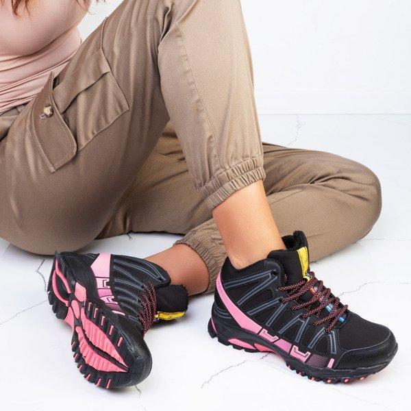 Czarne sportowe damskie buty trekkingowe z neonową wstawką