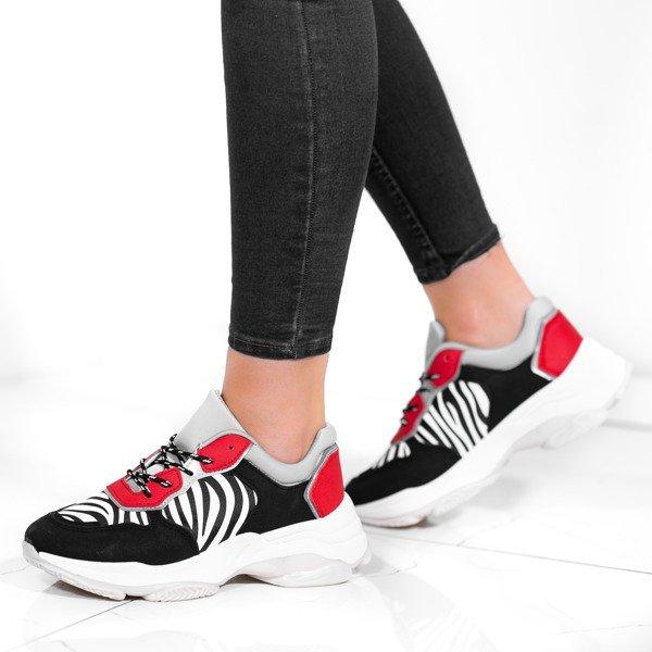 Białe buty sportowe ze wstawką a'la skóra węża Pia Obuwie