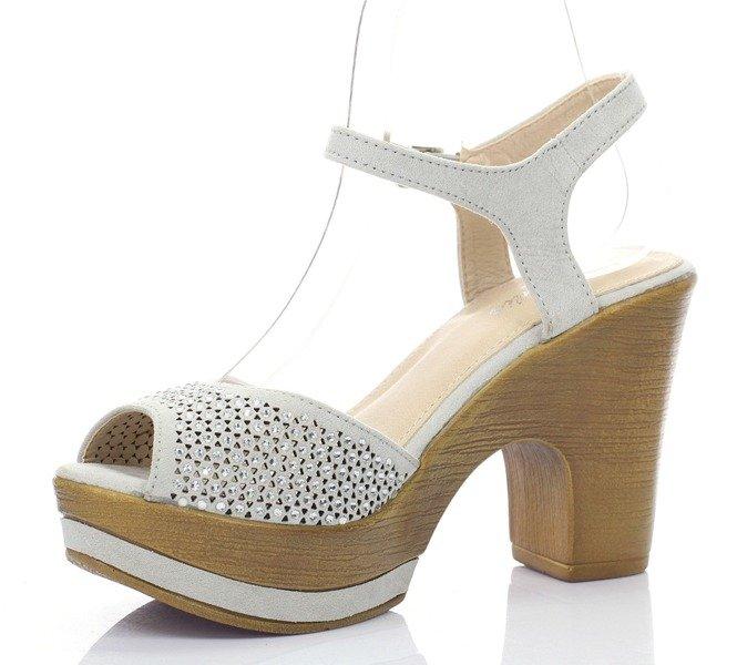 d296ed20841bb Szare sandały na słupku - | Royalfashion.pl - sklep z butami online