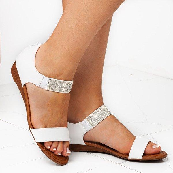 4bd447bf ... Białe sandały na niskiej koturnie Acellia - Obuwie Kliknij, aby  powiększyć ...