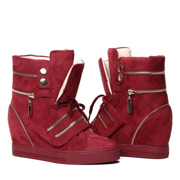 41024856dc94a Bordowe sneakersy na krytym koturnie z suwakami Erica- Obuwie ...