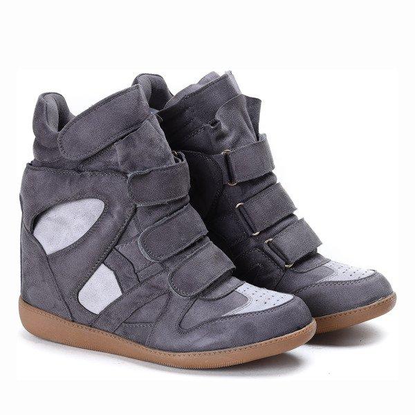 eeb8dae40f40 Ciemnoszare sneakersy na koturnie Barbra - Obuwie - Szary ...