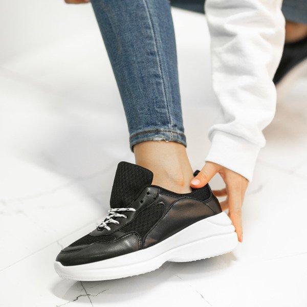 827bca2e7163e Czarne buty sportowe na grubej podeszwie Hailey - Obuwie Kliknij, aby  powiększyć ...