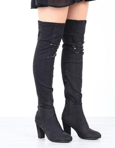 84a6fcc266b6c ... jeansowe kozaki na słupku Jennifer- Obuwie Kliknij, aby powiększyć ...