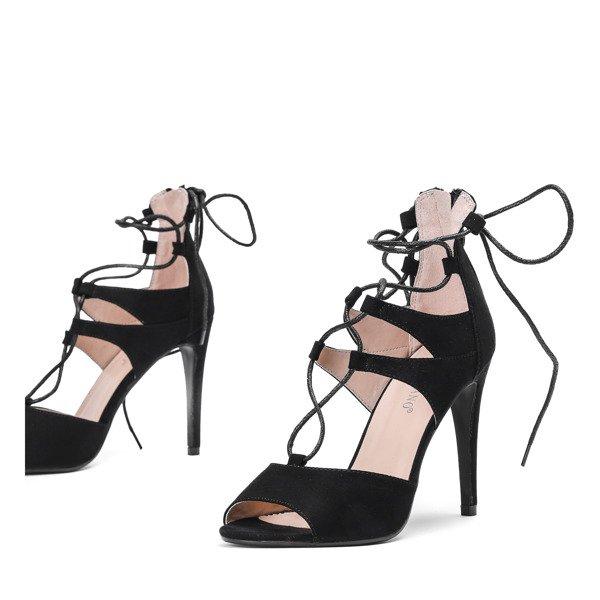 54f8731f Czarne sandały na szpilce z wiązaniami Lyn - Obuwie - Czarny ...