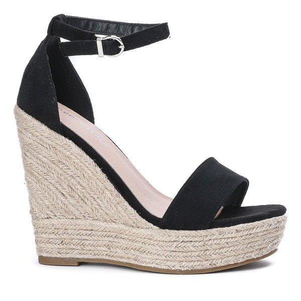 9d940f26 ... Czarne sandały na wysokiej koturnie Carrie - Obuwie Kliknij, aby  powiększyć ...