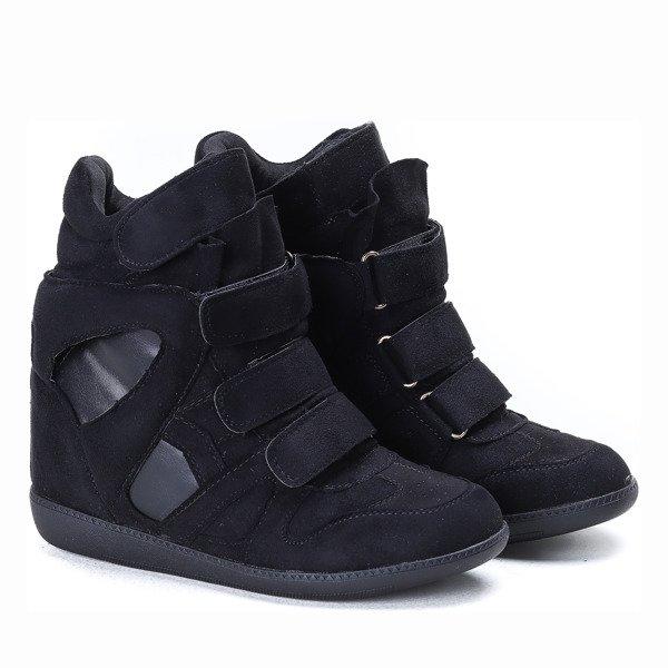 b90256c5 Czarne sneakersy na koturnie Barbra - Obuwie - Czarny | Royalfashion ...