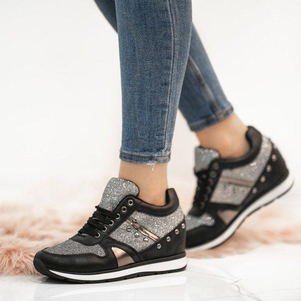 f2b587ae53a9c Czarne sportowe buty na krytej koturnie Grina - Obuwie - Srebrny ...
