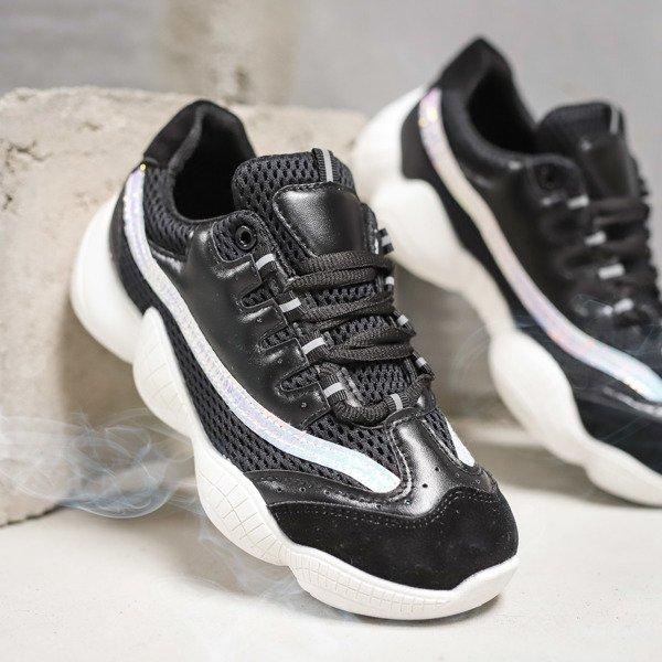 11dc95d1 Czarne sportowe buty na wyższej podeszwie Zooey - Obuwie Kliknij, aby  powiększyć ...