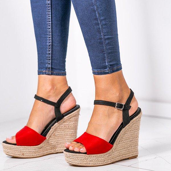 7461102b Czerwone sandały na wysokiej koturnie Belvia - Obuwie Kliknij, aby  powiększyć ...