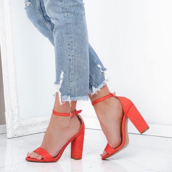 686466f8b8810 Pomarańczowe sandały na słupku Annie - Obuwie - Pomarańczowy ...