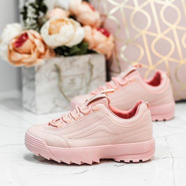 21e74368c3698 Różowe buty sportowe na grubszej podeszwie Madeline - Obuwie ...