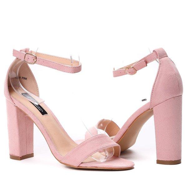 b5837fafef08e1 ... Różowe sandały na słupku Eri - Obuwie Kliknij, aby powiększyć ...