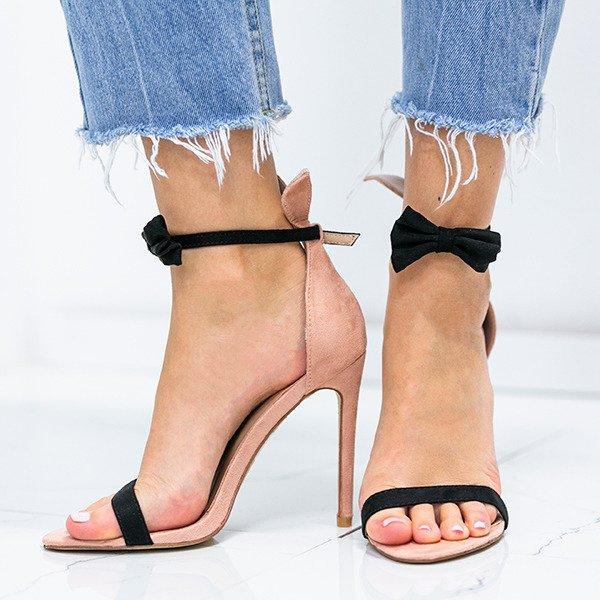 2dce5d816d743d Różowe sandały na szpilce z czarną kokardką i uszami Poppy - Obuwie  Kliknij, aby powiększyć ...