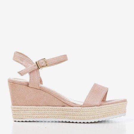 Beżowe damskie sandały na koturnie Zitta - Obuwie