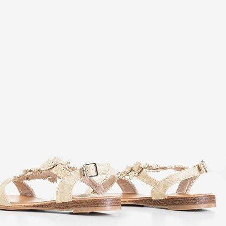 Beżowe damskie sandały z kwiatami Madlen - Obuwie