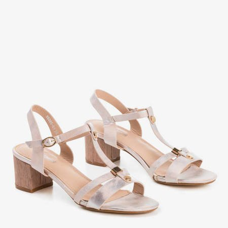 Beżowe damskie sandały ze srebrnym wykończeniem Samulico - Obuwie