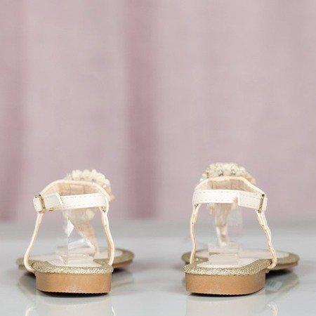 Beżowe sandały damskie na płaskim obcasie Slavitta - Obuwie