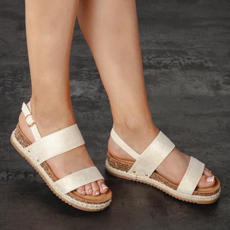 Beżowe sandały na niskiej platformie Movisa - Obuwie