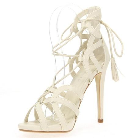 Beżowe sandały na szpilce Nulia - Obuwie