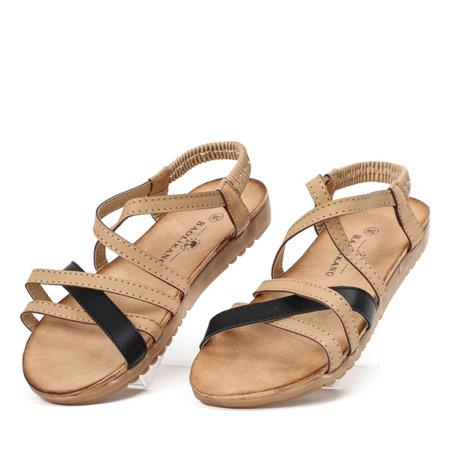 Beżowe sandały z gumką Rabiya - Obuwie