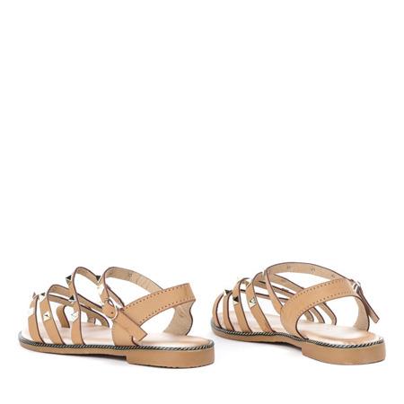 Beżowe sandały ze złotymi ćwiekami Sokoto - Obuwie