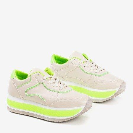 Beżowe sportowe buty damskie na grubej platformie z neonowymi wstawkami Savss - Obuwie