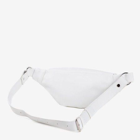 Biała mała torebka nerka ze srebrnymi elementami - Torebki