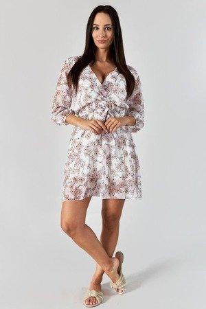 Biała mini sukienka w kwiaty - Odzież