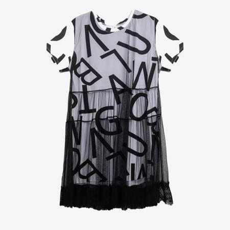 Biała sukienka z czarną siatka - Odzież