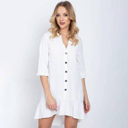 Biała sukienka z falbanką - Odzież