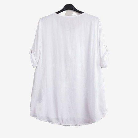 Biała tunika damska z printem i napisami - Odzież