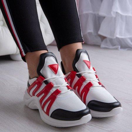 Białe buty sportowe z czerwonymi wstawkami Irrmessia - Obuwie
