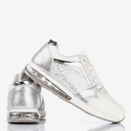 Białe buty sportowe ze zdobieniem a'la skóra węża Obsession - Obuwie