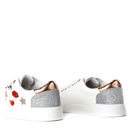 Białe buty z ozdobnym brokatem Gavriella - Obuwie