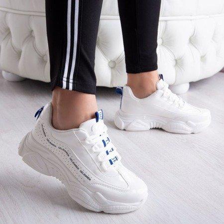 Białe daddy shoes na grubej podeszwie Georgina - Obuwie