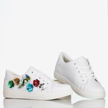 Białe damskie tenisówki z ozdobami Flower Eyes - Obuwie
