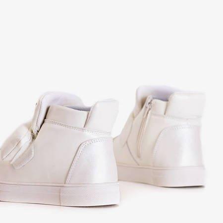 Białe dziecięce sneakersy z połyskującymi wstawkami Damasko - Obuwie