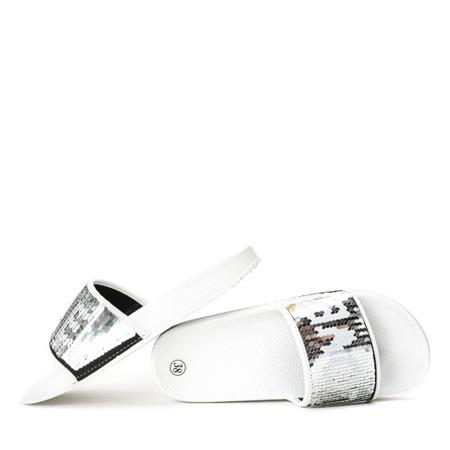 Białe klapki z cekinami Bronx - Obuwie