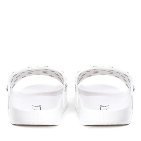 Białe klapki z kryształkami Retana - Obuwie