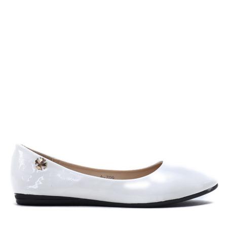 Białe, lakierowane balerinki Meganno - Obuwie