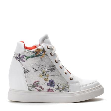 Białe sneakersy na koturnie w kwiaty   - Obuwie