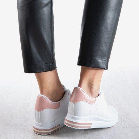 Białe sneakersy na krytym koturnie z różową wstawką Sliomena - Obuwie