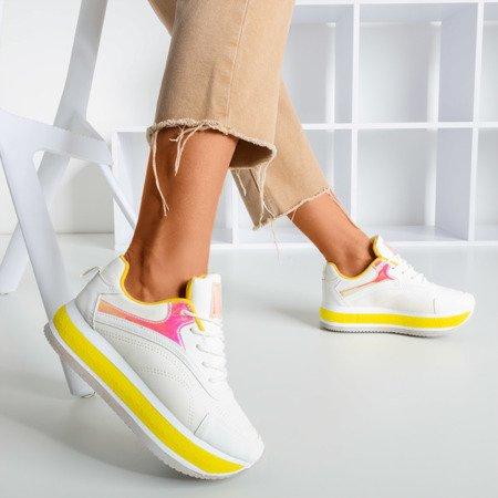 Białe sportowe buty damskie na grubej platformie Savssia - Obuwie