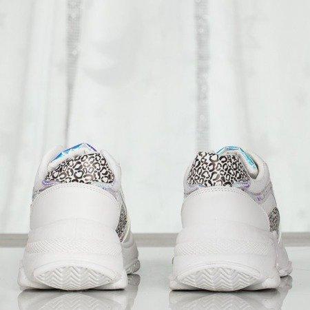 Białe sportowe buty damskie na grubej podeszwie Siren - Obuwie