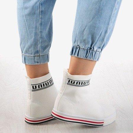Białe sportowe buty damskie z ozdobną skarpetką California Love - Obuwie