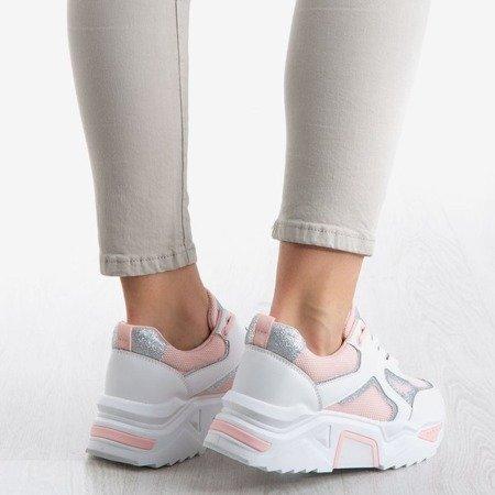 Białe sportowe buty damskie z różowymi wstawkami Happier - Obuwie