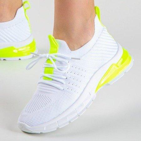 Białe sportowe buty z neonowymi żółtymi wstawkami Brighton - Obuwie
