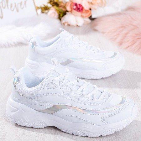 Białe sportowe sneakersy damskie Leyccea - Obuwie