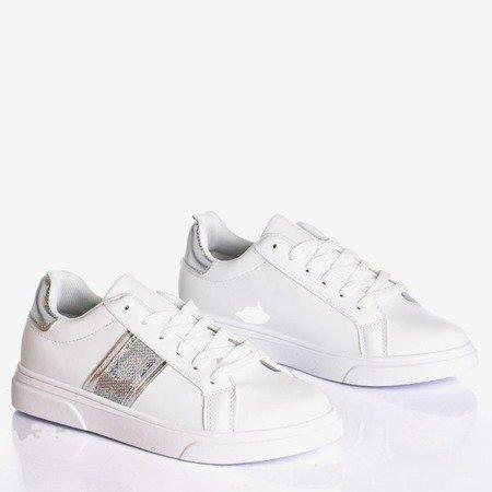 Białe sportowe tenisówki damskie ze srebrnymi wstawkami Hypnos - Obuwie